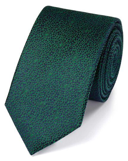 Slim green silk floral classic tie