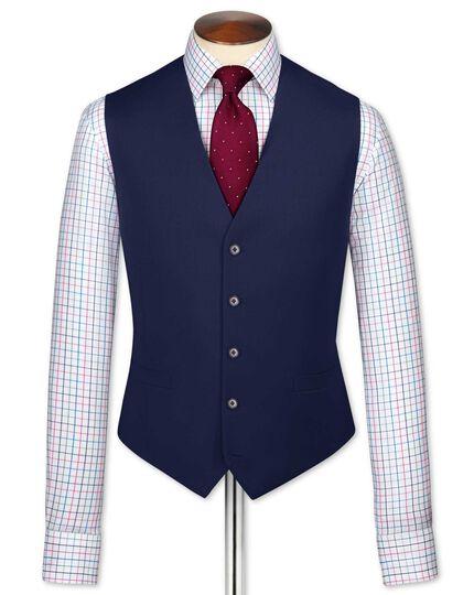 Gilet de costume business bleu roi en twill coupe ajustable