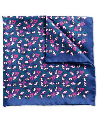 Blue and pink classic floral pocket square