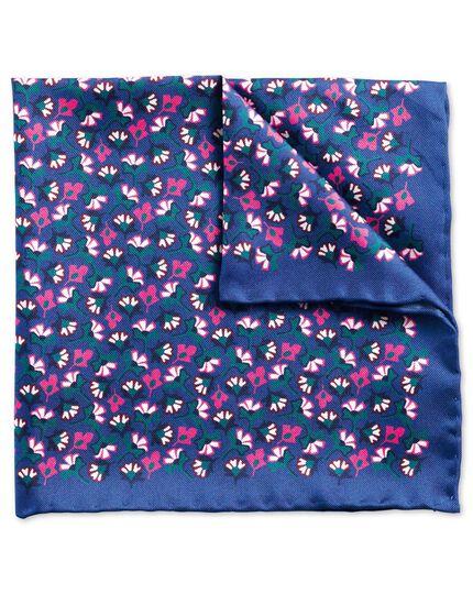 Pochette de costume classique bleue et rose à fleurs