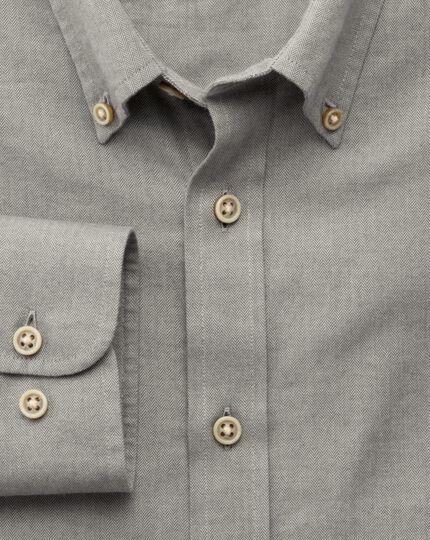 Slim fit grey herringbone shirt