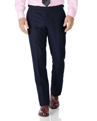 Pantalon de costume de luxe bleu marine en sergé britannique coupe droite