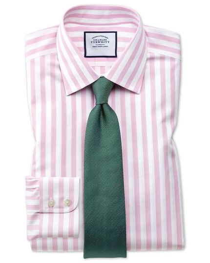 Chemise rose extra slim fit à rayures Jermyn Street sans repassage