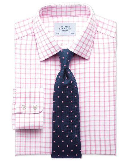Extra slim fit non-iron twill grid check light pink shirt