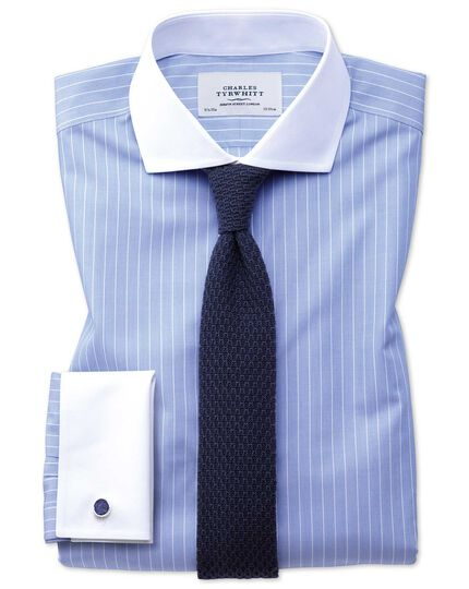 Extra slim fit cutaway non-iron Winchester blue and white shirt