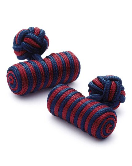 Red and navy barrel knot cuff links