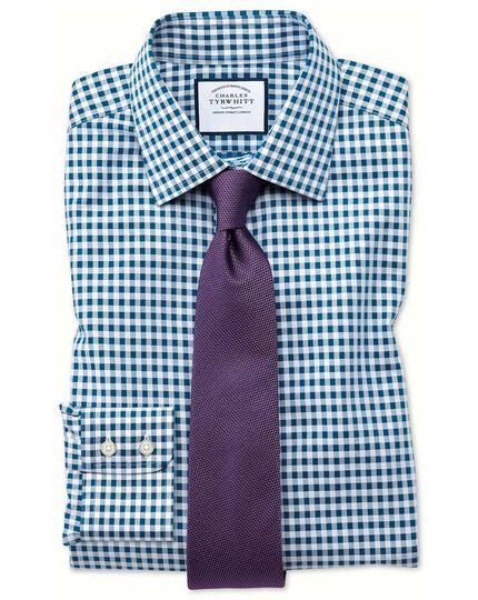 Bügelfreies Slim Fit Hemd in Blaugrün mit Gingham-Karos