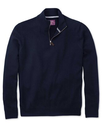 Navy cashmere zip neck jumper