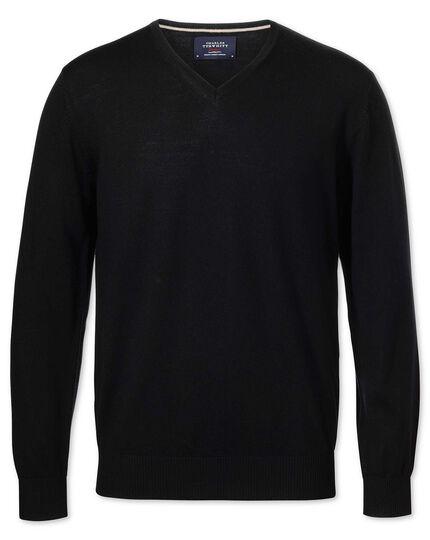 Black merino wool v-neck sweater