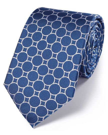 Royal and white silk circle link classic tie