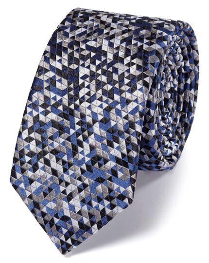 Slim grey silk triangle luxury tie