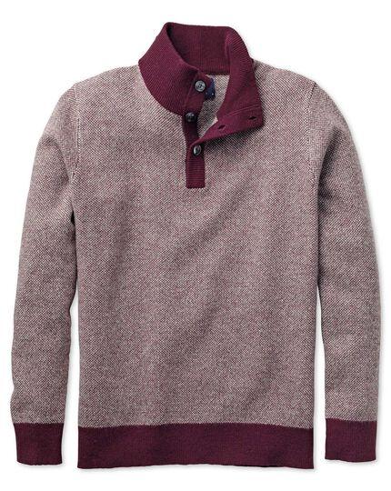 Wine jacquard button neck sweater