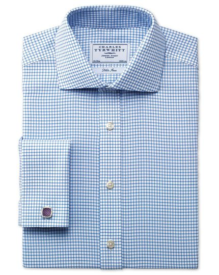 Classic fit non-iron cutaway collar basketweave check sky blue shirt