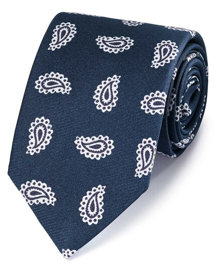 Navy and white silk printed paisley English luxury tie