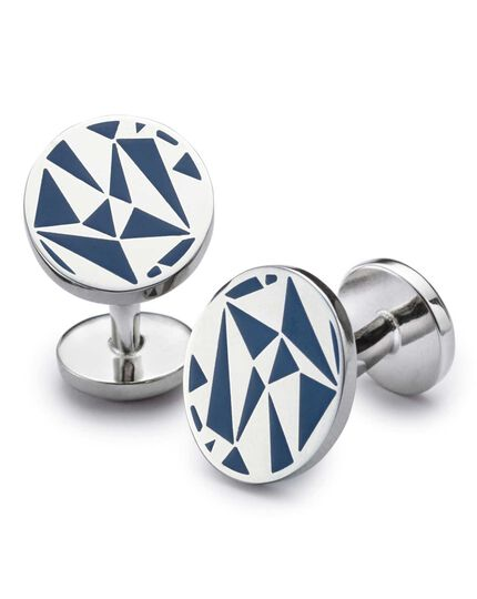 Maschettenknöpfe aus Emaille in Königsblau mit Dreiecken
