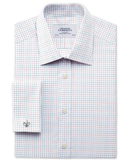 Classic fit mini multi check white shirt
