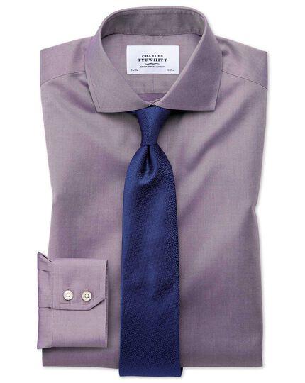 Slim fit spread collar non-iron twill dark purple shirt