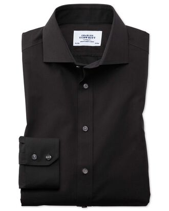 Slim fit cutaway non-iron poplin black shirt