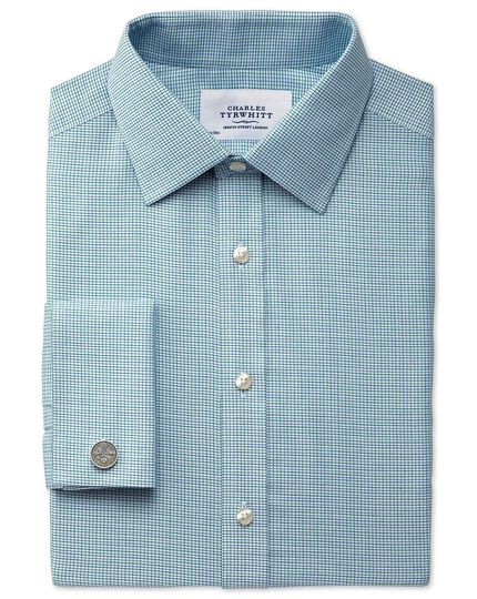 Classic fit non-iron textured check green shirt