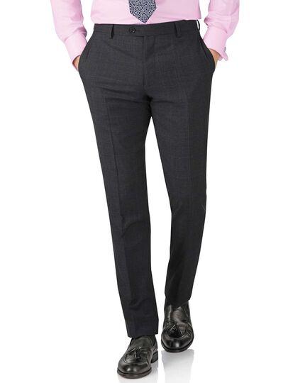 Charcoal slim fit sharkskin travel suit pants