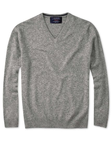 Silver grey cashmere v-neck sweater