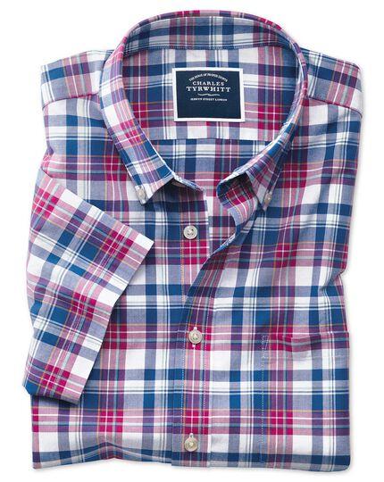 Classic Fit Kurzarmhemd aus Popeline in Rosa und Marineblau