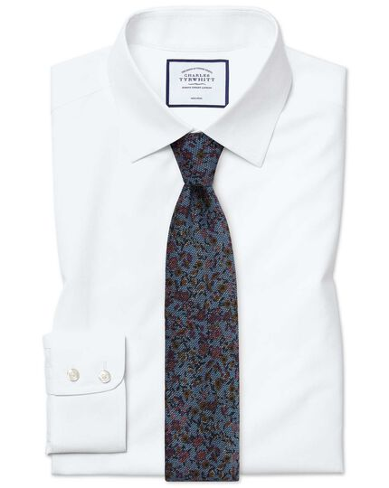 Slim fit non-iron poplin white shirt