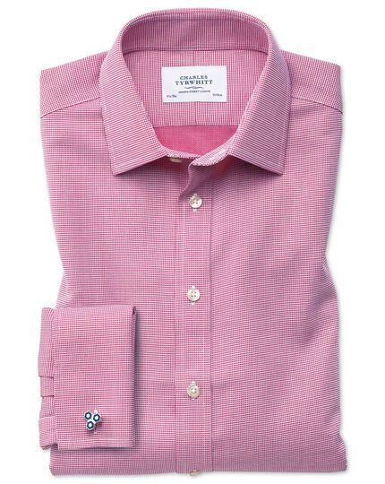 Bügelfreies Extra Slim Fit Hemd in Magenta mit gewebten Quadraten
