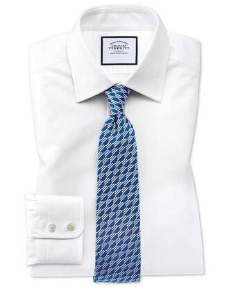 Classic fit Egyptian cotton trellis weave white shirt