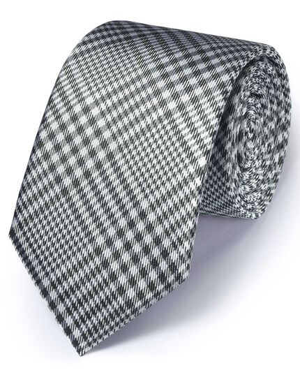 Grey silk classic Prince of Wales check tie