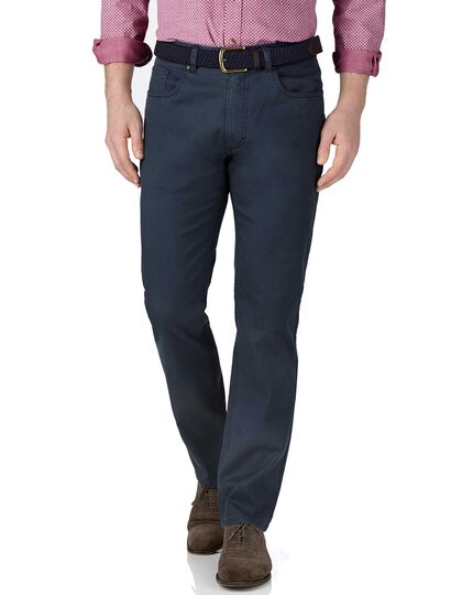 Blue slim fit stretch pique 5 pocket pants