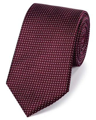 Cravate classique bordeaux en soie unie à micro pois