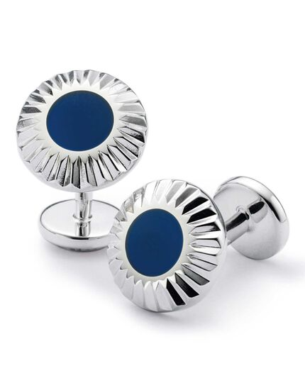Blue circle with textured edge enamel cuff links