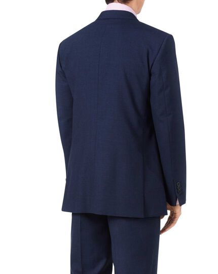 Indigo blue classic fit Panama puppytooth business suit jacket