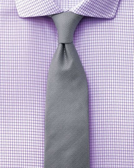 Slim fit cutaway collar non-iron dobby check lilac shirt