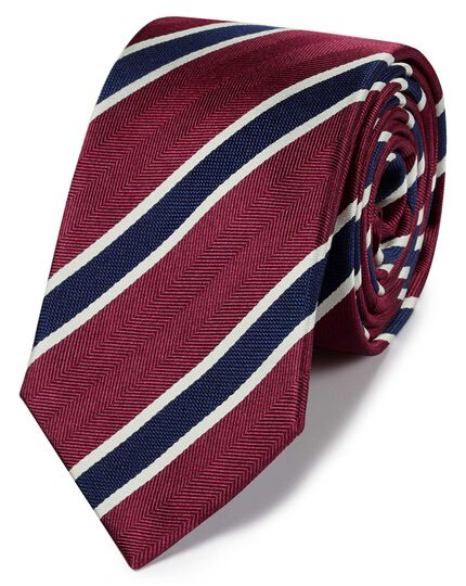 Red & navy silk traditional stripe classic tie