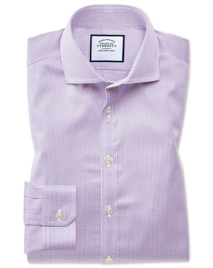 Super slim fit spread collar non-iron puppytooth lilac shirt