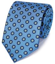Sky and navy silk printed classic tie