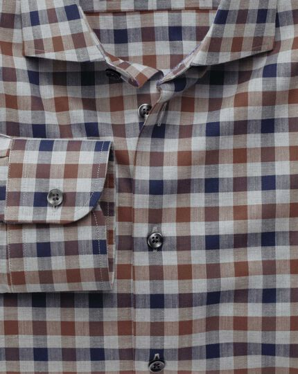 Extra slim fit semi-cutaway collar business casual melange navy and brown check shirt