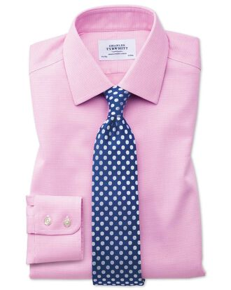 Bügelfreies Extra Slim Fit Hemd in Rosa mit gewebten Quadraten
