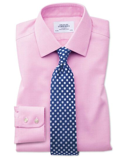Extra slim fit non-iron square weave pink shirt