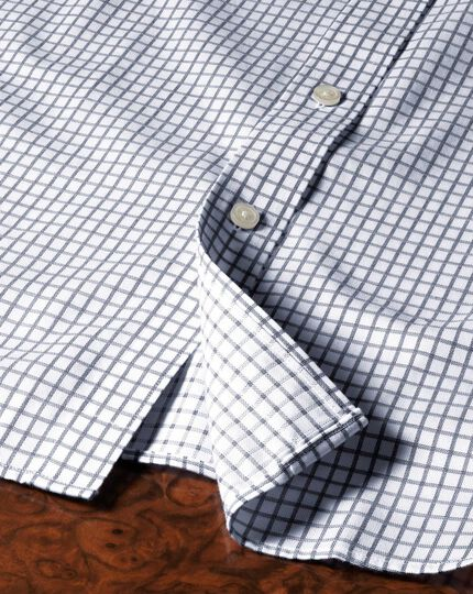 Slim fit non-iron windowpane check indigo shirt