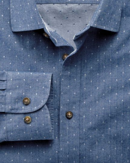 Slim fit mid-blue dobby spot shirt