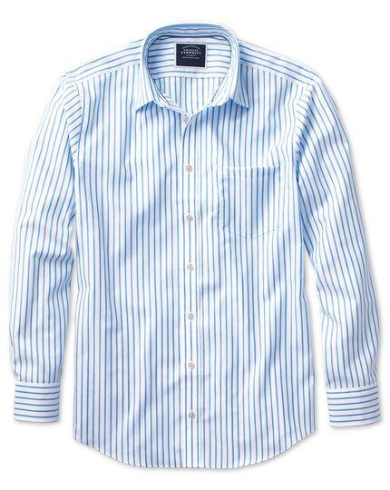 Chemise blanche et bleue en oxford slim fit à rayures sans repassage