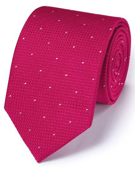 Cravate classique rose foncé à tirets en soie texturée