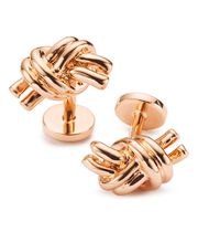 Rose gold nautical knot cuff links