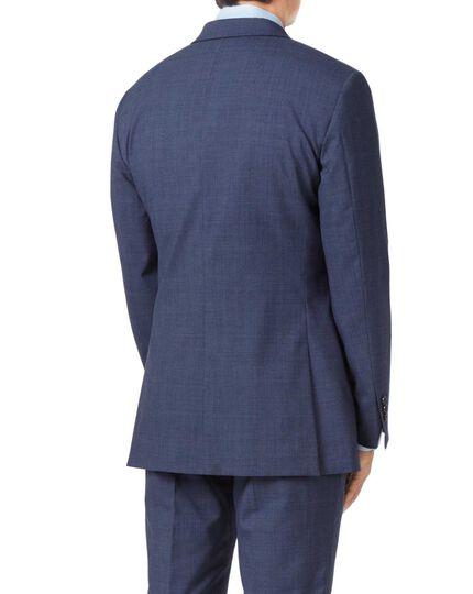 Airforce blue slim fit Panama check business suit jacket
