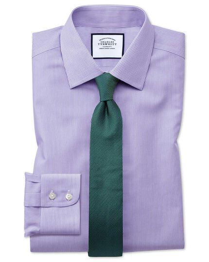 Chemise lilas coupe droite à rayures Bengale sans repassage