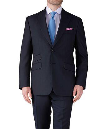 Navy blue slim fit basketweave business suit jacket