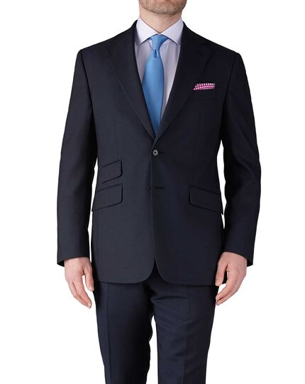 Navy blue slim fit basketweave business suit jacket